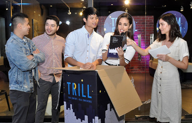 Unboxing TRILL: Mattress in a Box during the launch were (L-R) Patrick Sugui, Josef Elizalde, Mikael Daez, Megan Young and Mari Jasmine