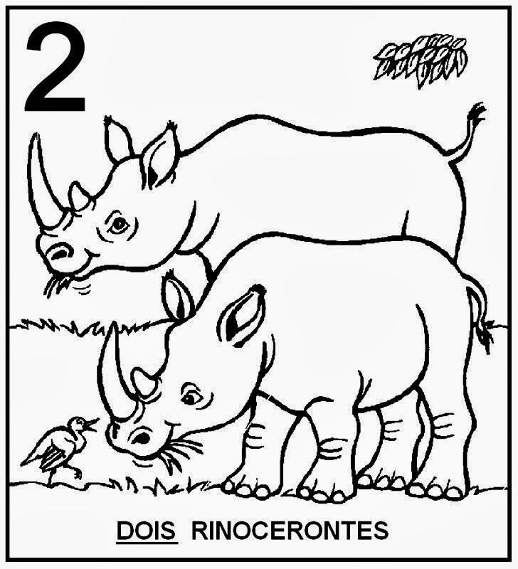 Atividades com Numerais Dois rinocerontes