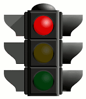 A red stop traffic light.
