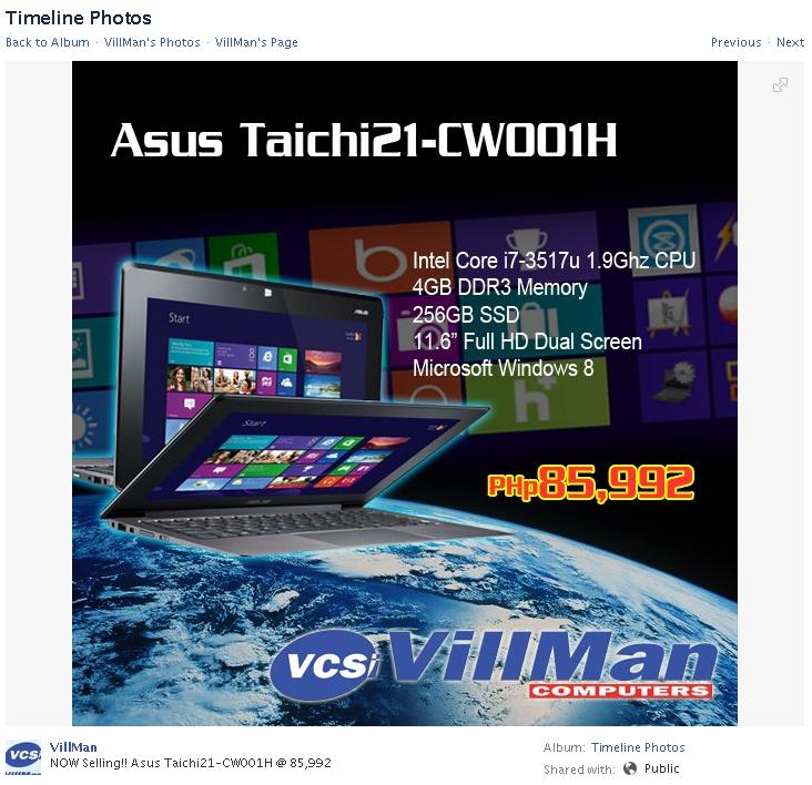 Asus Taichi 21 CW001H Price in Philippines at Villman Computers