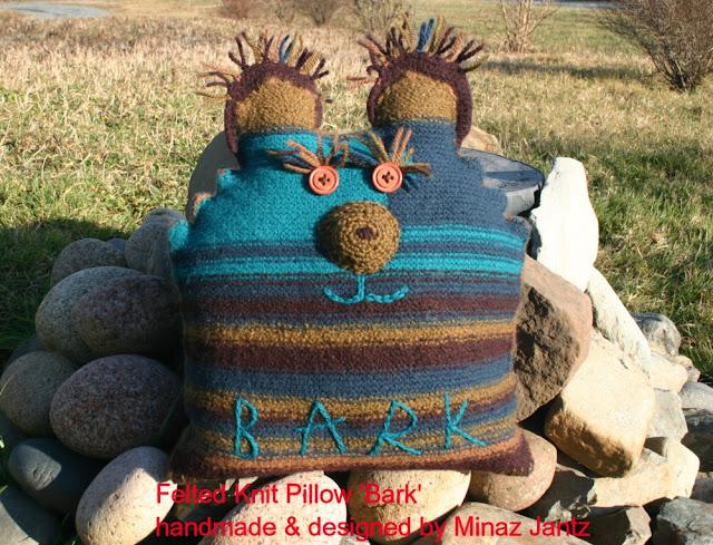 'Bark', Felted knit pillow by Minaz Jantz