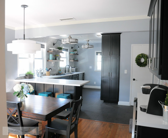 Modern, updated kitchen with black cabinets and open shelving :: OrganizingMadeFun.com