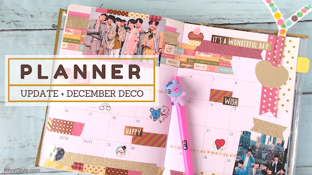 Koori Style, KooriStyle, Kpop, BTS, Planner, Planning, Washi Tape, Stickers, Cinta Washi, Cute, Kawaii, VIXX, EXO, Pentagon, December, Diciembre, Agenda, 2018