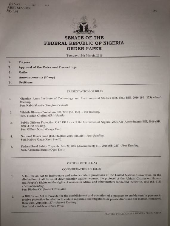 order paper nigeria Ebal s Blog The Order Paper for Nigeria Senate Plenary for today The Order Paper for Nigeria Senate Plenary for today March