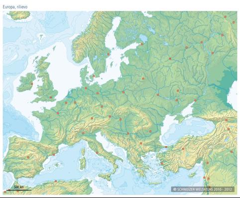 Cartina Muta Dell Europa Fisica.Cartina Muta Monti Europa
