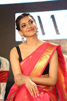 Kajal Aggarwal in Red Saree Sleeveless Black Blouse Choli at Santosham awards 2017 curtain raiser press meet 02.08.2017 058.JPG
