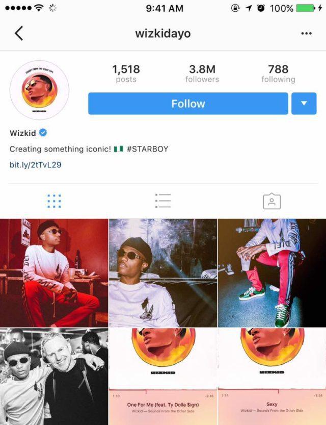 Wizkid Unfollows Drake on Instagram