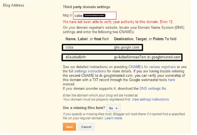 CNAME yang harus dipasang di domain manager
