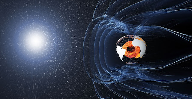 The magnetic field and electric currents in and around Earth generate complex forces that have immeasurable impact on every day life. The field can be thought of as a huge bubble, protecting us from cosmic radiation and charged particles that bombard Earth in solar winds. Credit: ESA/ATG medialab