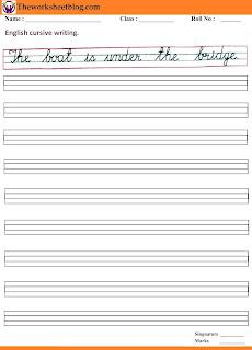 English cursive handwriting sentences worksheet