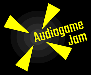 "Yellow text, reading ""Audiogame Jam"" on top of a black background. Yellow triangles and grey concentric circles."