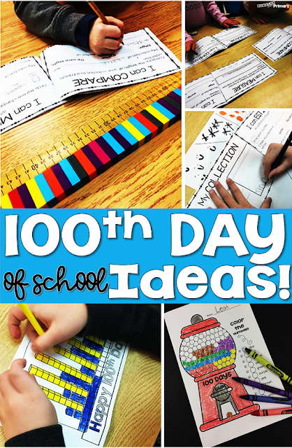celebrate the 100th day of school with hands on activities, counting practice and lots of non standard and standard measurement activities.  Students can make a 100s day hat, color in 100th day math pictures and teachers can get ideas for centers to do with manipulatives you have in the classroom.  #100dayofschool #100thdayofschool