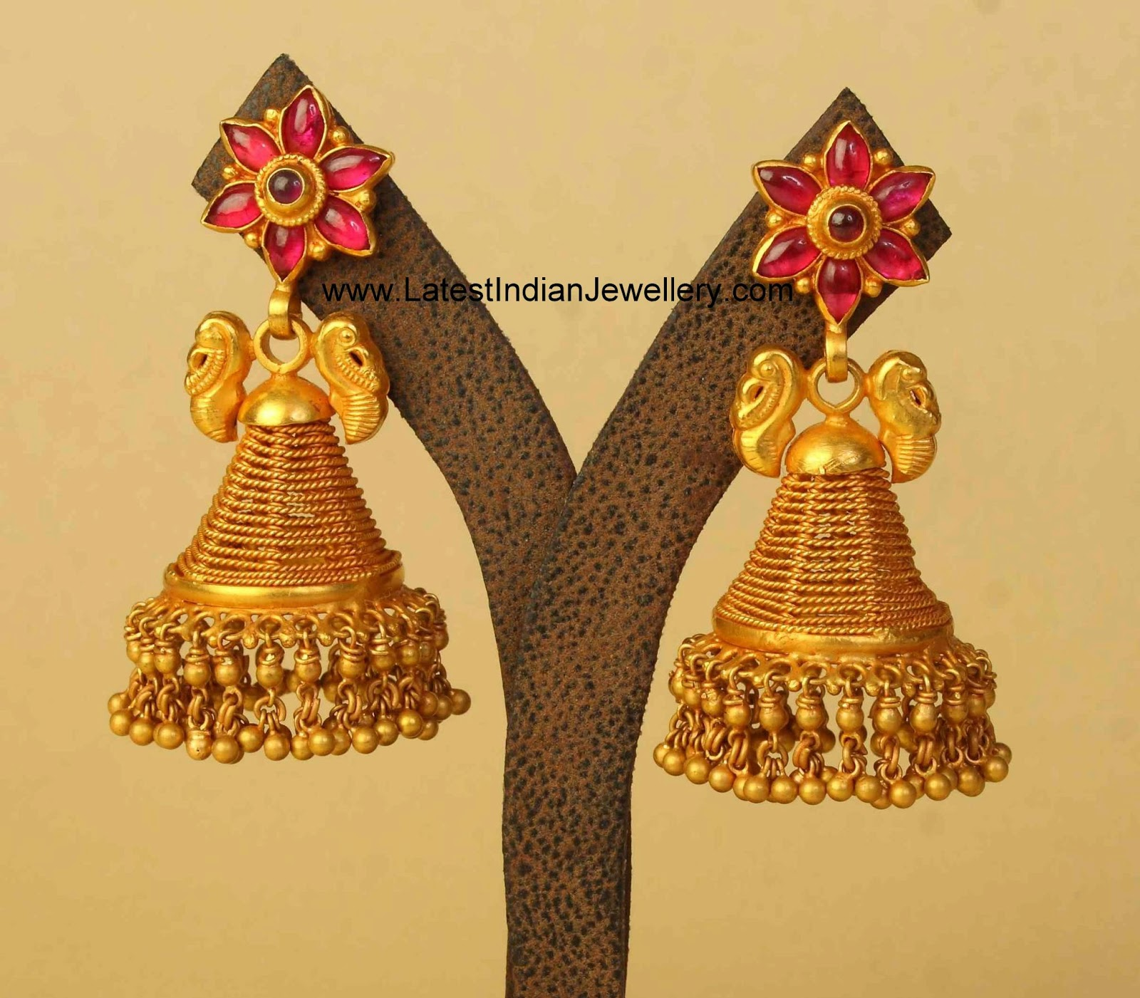 Designer Temple Style Gold Antique Jhumkas Latest Indian