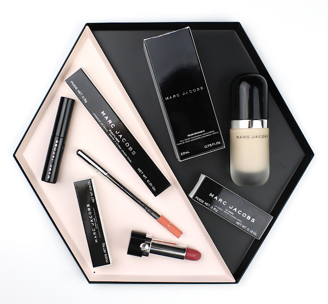 Marc Jacobs Makeup Beauty Re(marc)able Full Cover Foudnation Concentrate Le Marc Lip Creme Lipstick Kiss Kiss Bang Bang (P)outliner Longer Lip Liner Honeybun O!Mega Lash Volumizing Mascara review