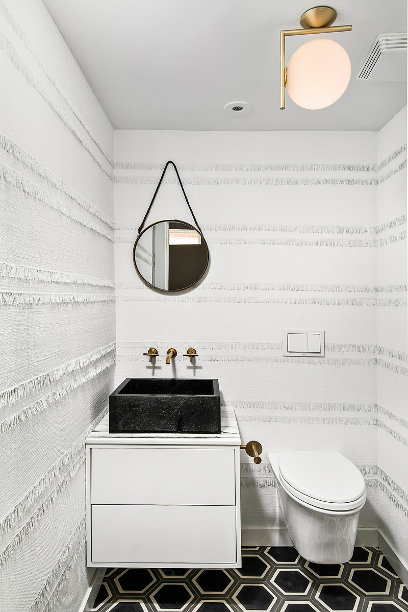 Fabric wall covering in modern bathroom in Church conversion to chic private home Chicago