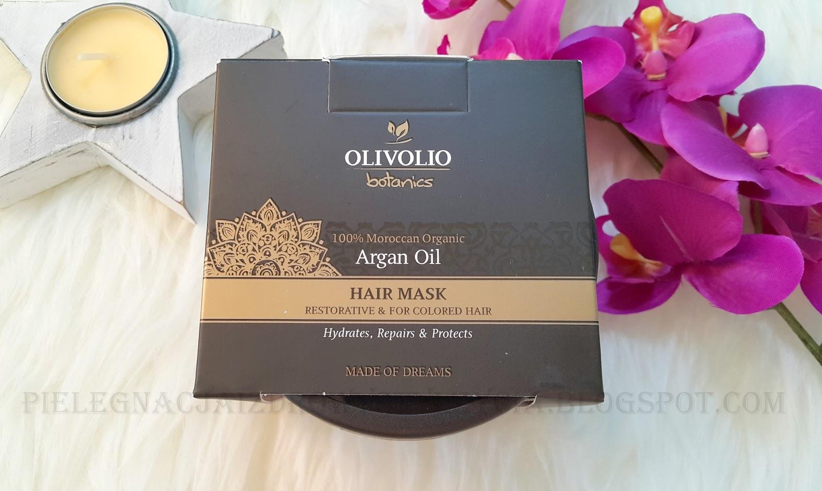 Odbudowująca maska do włosów farbowanych z olejem arganowym Olivolio