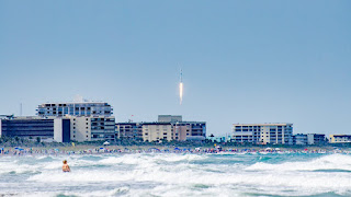 "Crowds line the beaches along Cocoa Beach and Cape Canaveral as #SpaceX launches the first ""Block 5"" #Falcon9 and #Bangabandhu1 this afternoon."