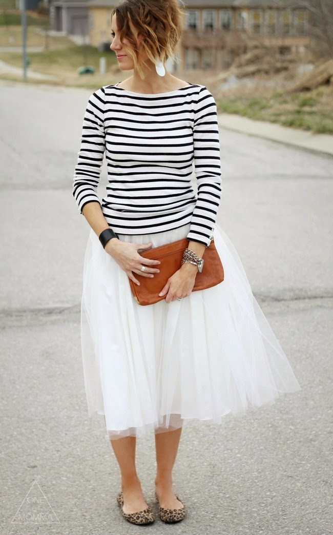 Stripes and a tulle skirt with leopard ballet flats