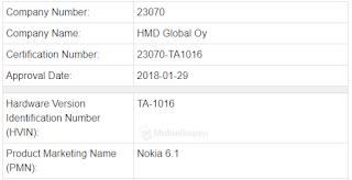 Nokia 6.1 (2018) TA-1016 Certified in Canada