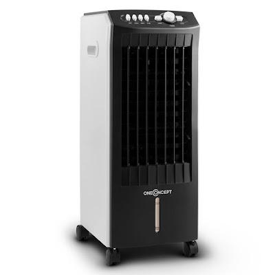 oneConcept MCH-1 Enfriador de aire Climatizador 3 en 1 portátil 65W (400 m³/h de flujo de aire, ventilador, humidificador, filtro aire, 3 niveles potencia, bajo consumo energia , ruedas transporte)
