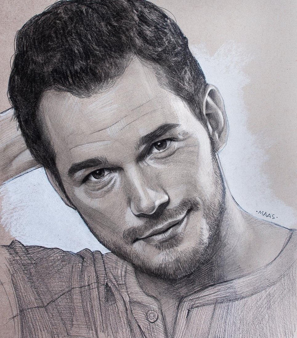 13-Chris-Pratt-Justin-Maas-Pastel-Charcoal-and-Graphite-Celebrity-Portraits-www-designstack-co