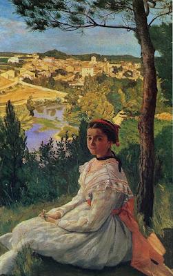 Frederic Bazille - Vue de village: Castelnau,1868.