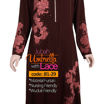Jubah Umbrella Lace JEL-29 Brown Depan 10