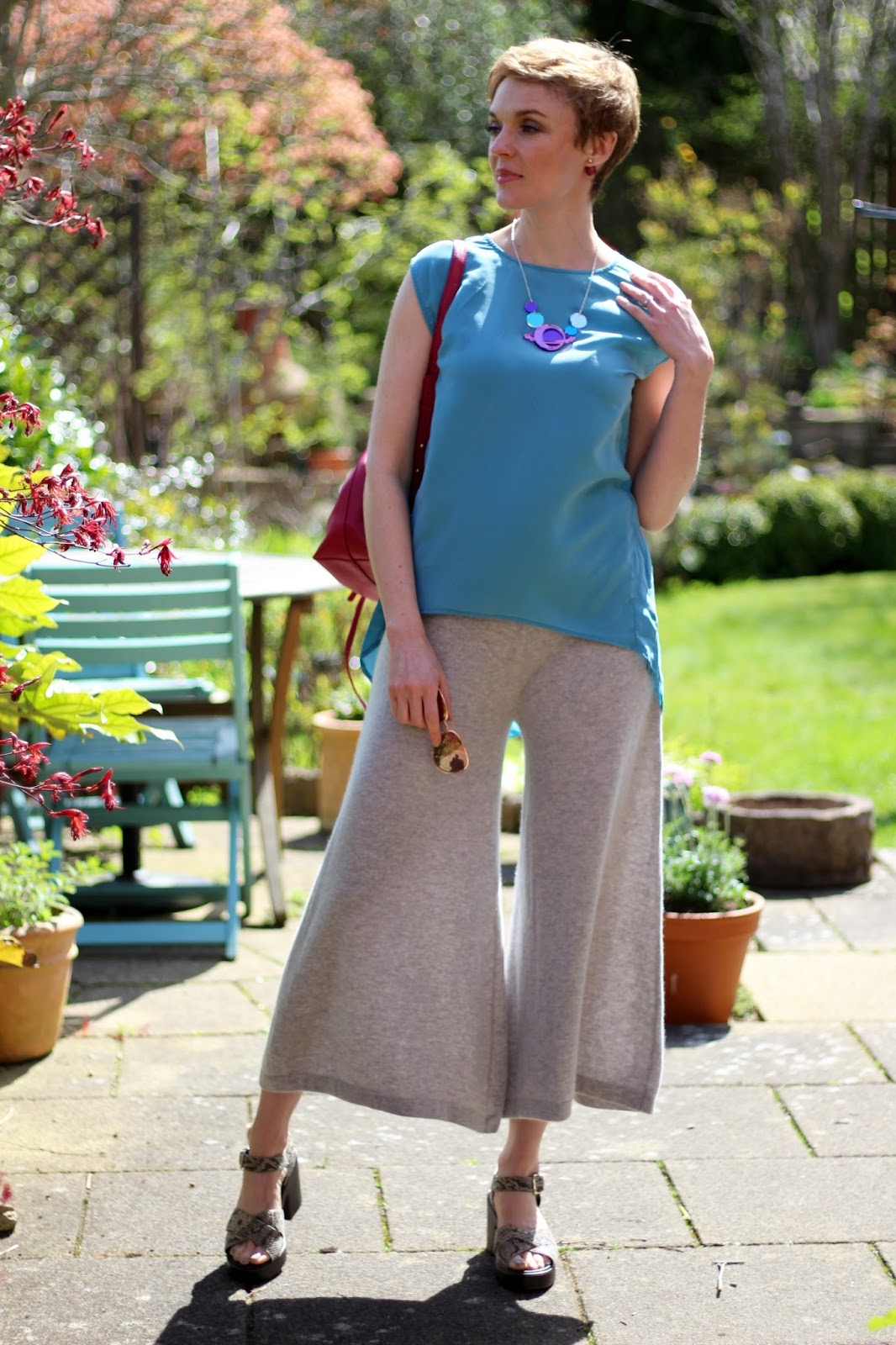 Grey Cashmere culottes and a blue silk tunic | Over 40 Fashion | Fake Fabulous