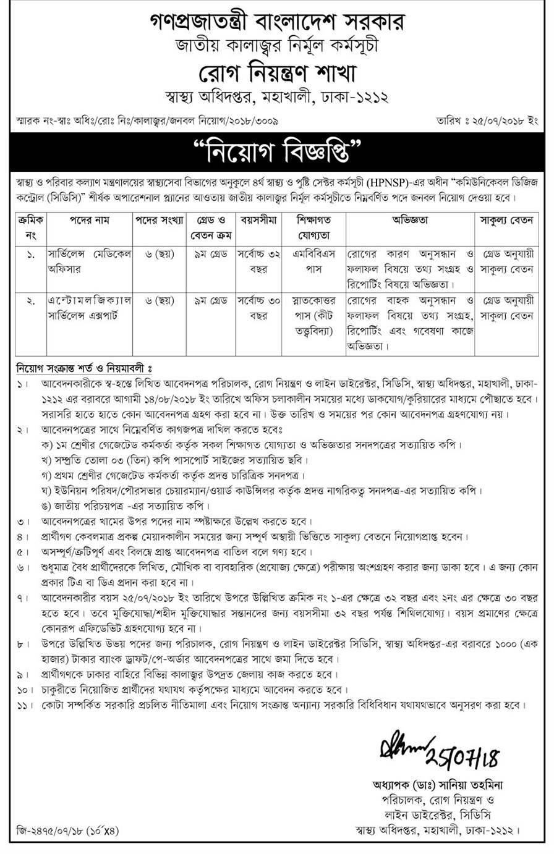 Health Ministry Job Circular In 2018