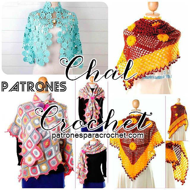 esquemas y patrones de chales para tejer con ganchillo