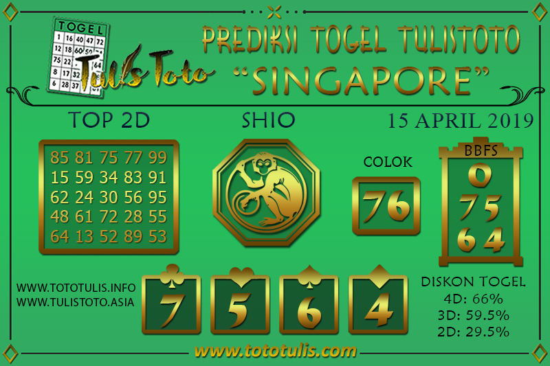 Prediksi Togel SINGAPORE TULISTOTO 15 APRIL 2019