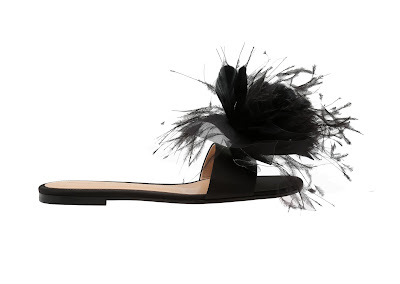 Gianvito Rossi Black Satin Slides With Feathers