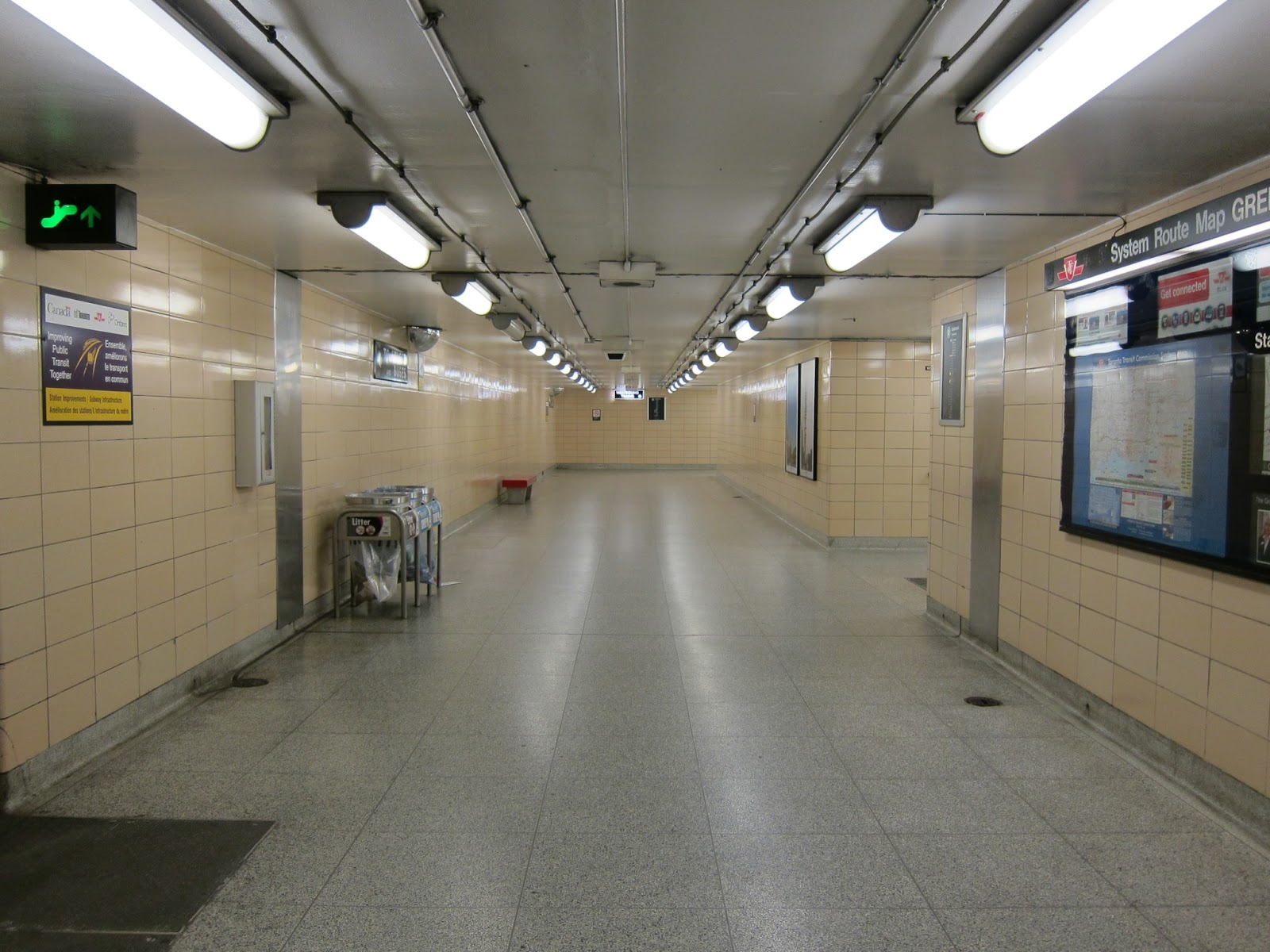 Corridor at Greenwood subway station