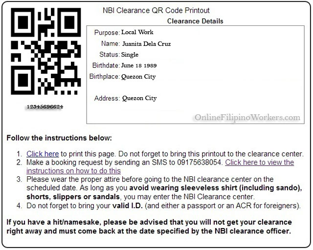 Print the QR Code then bring it in NBI eClearance