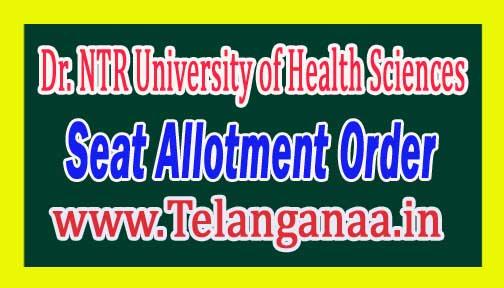 NTRUHS MD (Ayurveda) Seat Allotment Order 2016