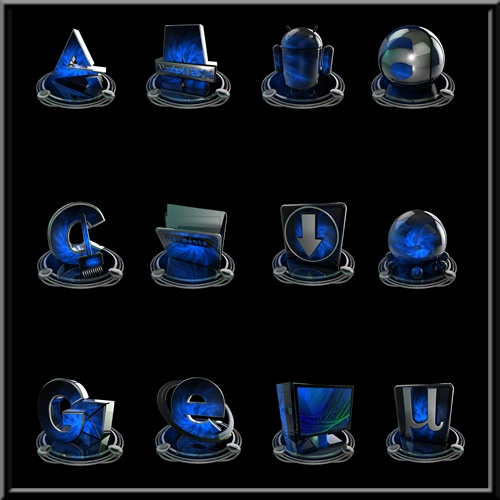 Iconos azul y platino | PNG