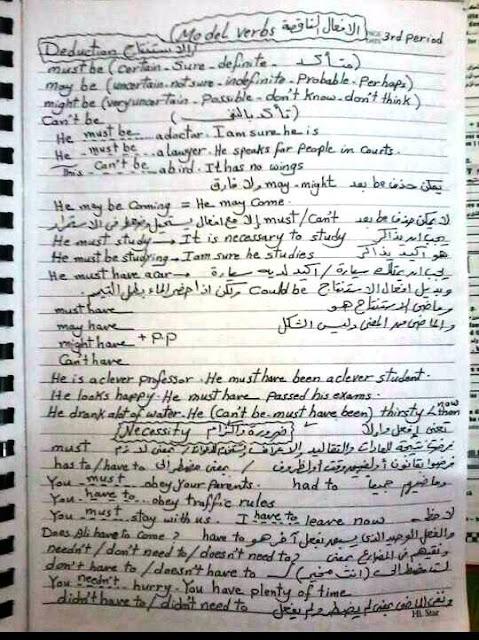بخط اليد مراجعة جرامر اللغة الإنجليزية لـ امتحان الثانوية العامة 20016 فى 12 ورقة 1