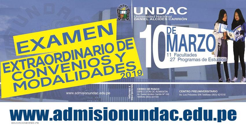 Resultados UNDAC 2019 (10 Marzo) Lista de Ingresantes Examen Extraordinario de Convenios y Modalidades - Universidad Nacional Daniel Alcides Carrión   www.admisionundac.edu.pe   www.undac.edu.pe