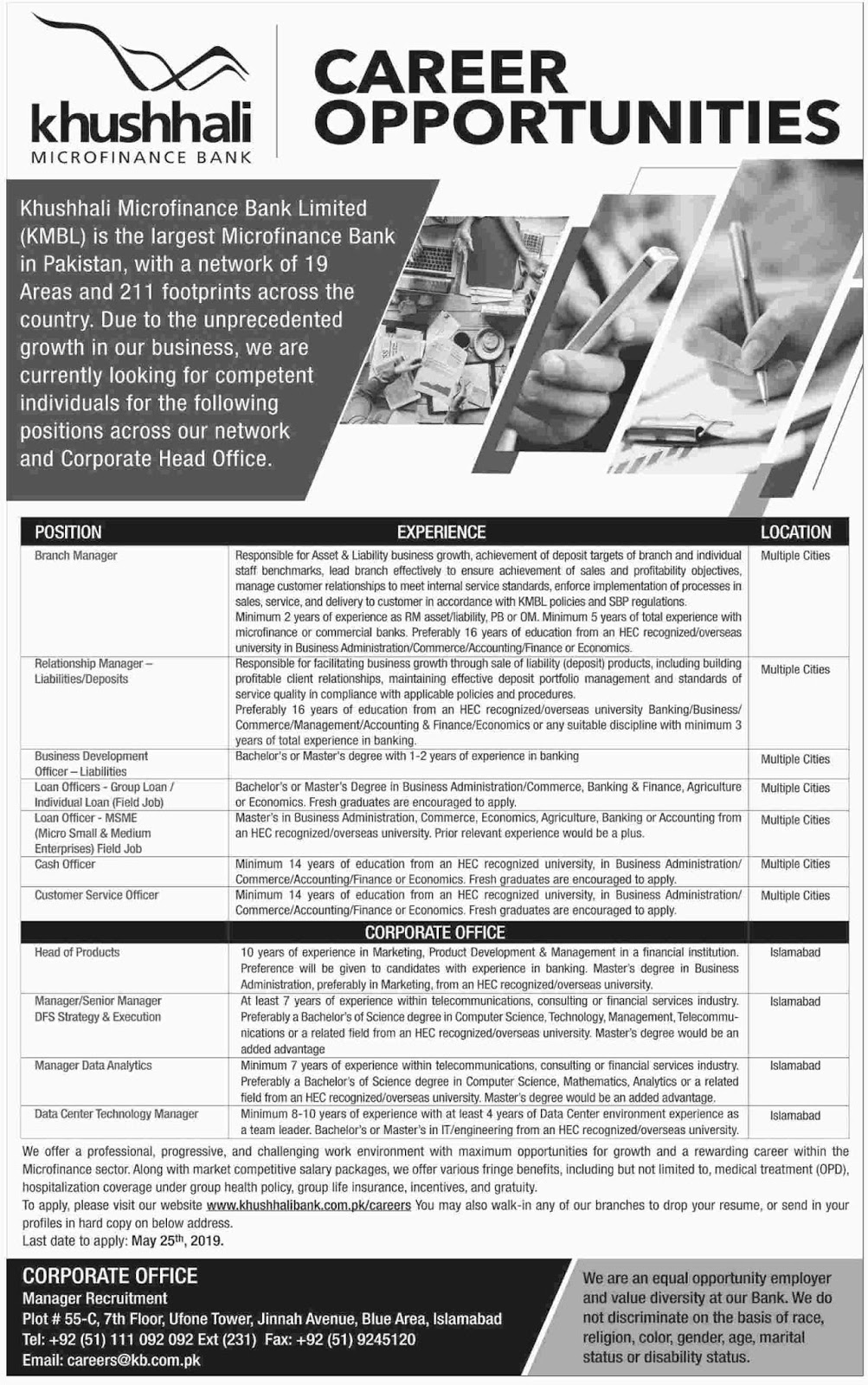 ➨ #Jobs - #Career_Opportunities - #Jobs - Pakistan's Largest MicroFinance Bank is Careers at Khushhali Bank  –for application visit the link