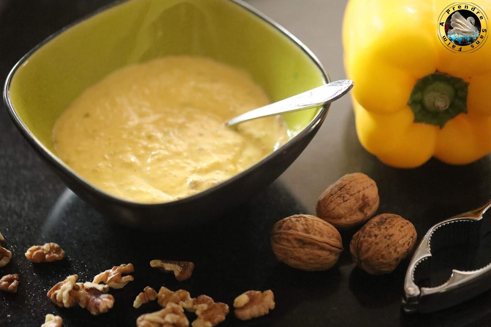 Pesto de poivrons jaunes aux noix