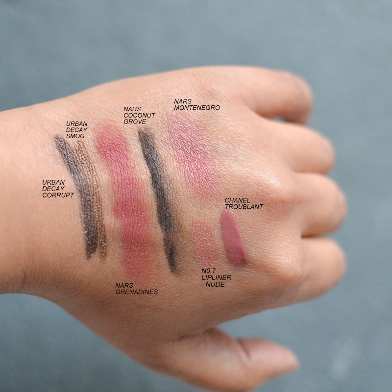 Makeup Swatches - Urban Decay Corrupt Smog - NARS Coconut Grove Grenadines Montenegro - Chanel Troublant - Nude No. 7
