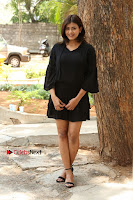 Actress Hebah Patel Stills in Black Mini Dress at Angel Movie Teaser Launch  0065.JPG