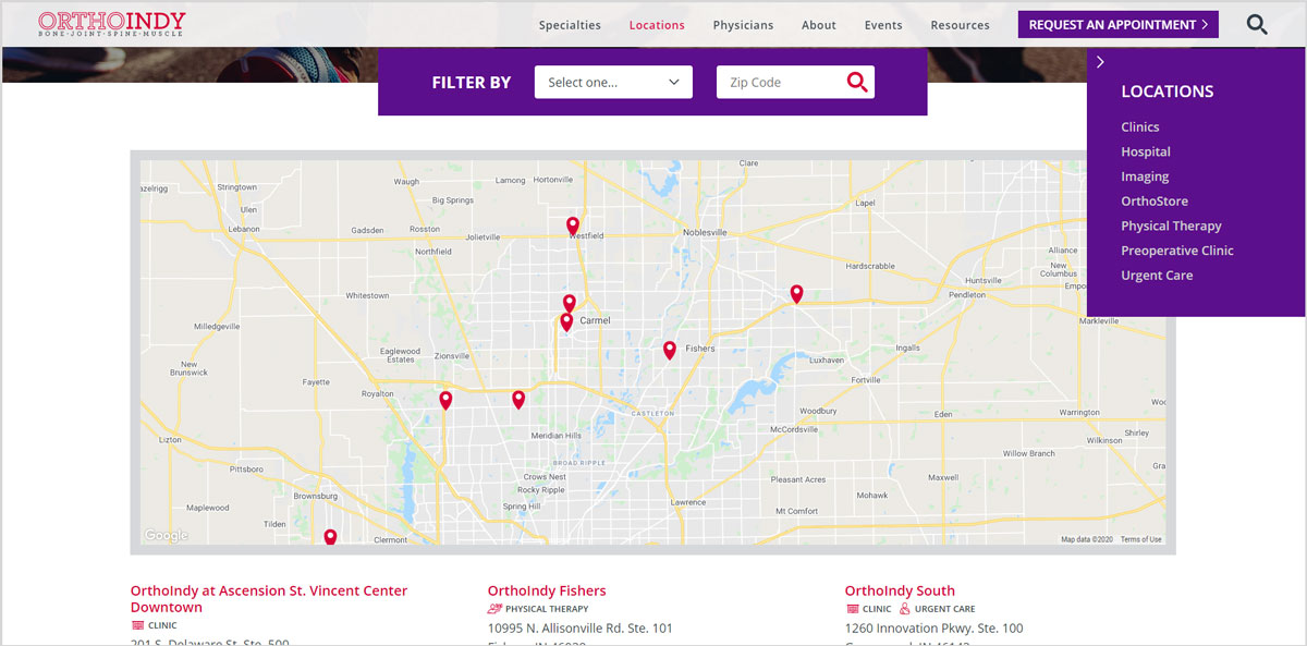 OrthoIndy locations webpage design example