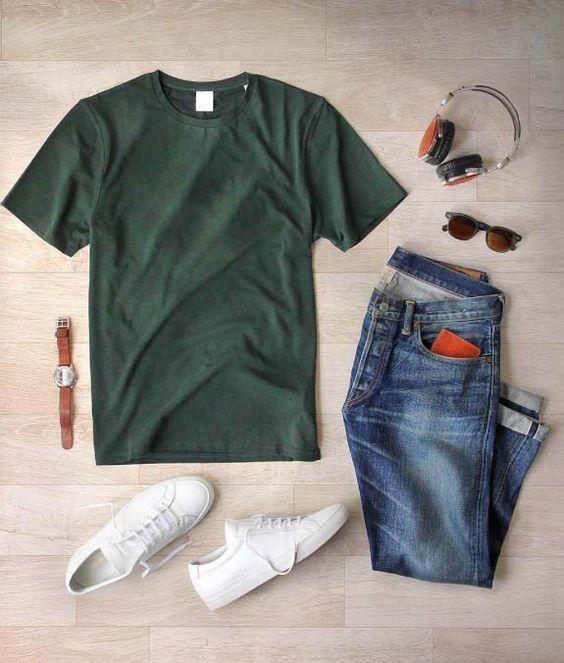 Look Masculino com Camiseta Verde