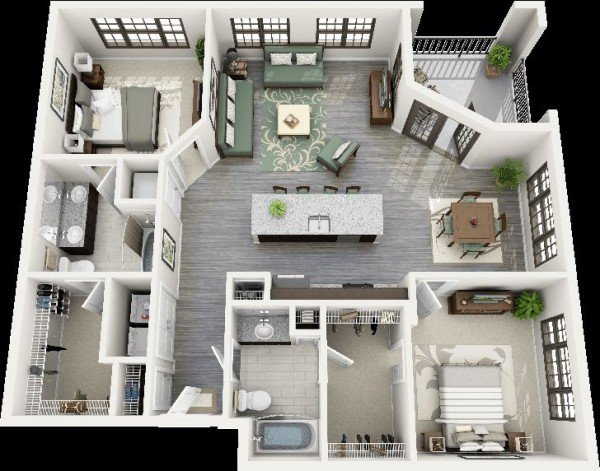 Impressive two bedroom 3d house plans make your plan now for Cute apartment balcony ideas