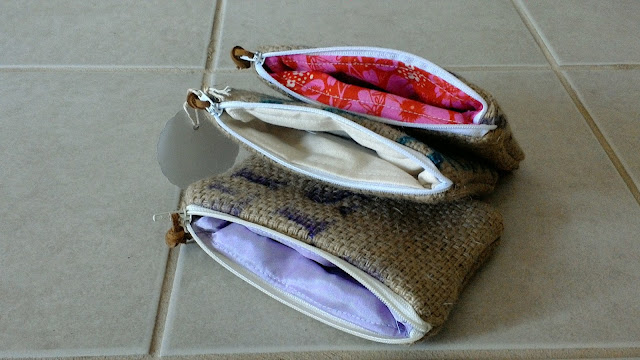 Lina and Vi Repurposed Burlap Zipper Pouches