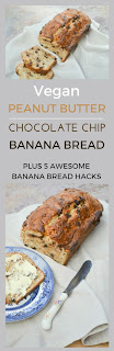 An easy recipe for dairy-free moist banana bread studded with dark chocolate with a subtle flavour of peanut butter. Fabulous slightly warm and even more glorious toasted and spread with vegan butter.