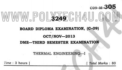 PREVIOUS THERMAL ENGINEERING-1 QUESTION PAPERS C-09 DME