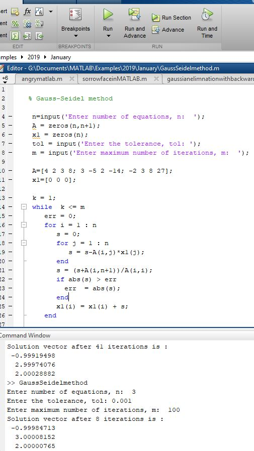 Gauss-Seidel method using MATLAB(mfile) - MATLAB Programming