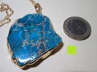 Stein Vergleich Münze: Gorudo Schmuck® - Roh-Jasper Gold filled Halskette Golddipping